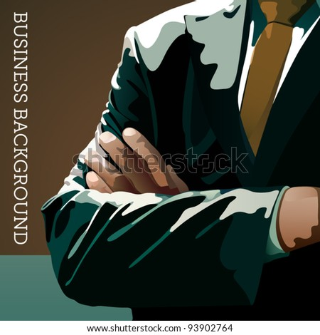 Vector business background - man in a suit with crossed hands - stock vector