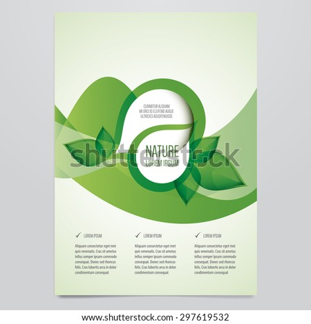 Vector business brochure, flyer template. Modern green leaf, environment design. - stock vector