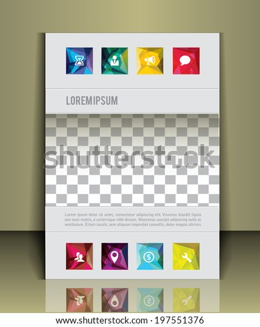 Vector  business brochure or magazine cover  template.  image placeholder - stock vector