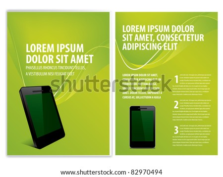 vector business brochure, smartphone flyer template - stock vector