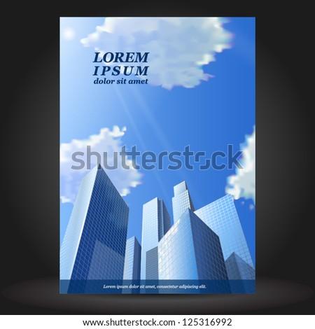 Vector business brochure template design with skyscrapers. EPS 10 - stock vector