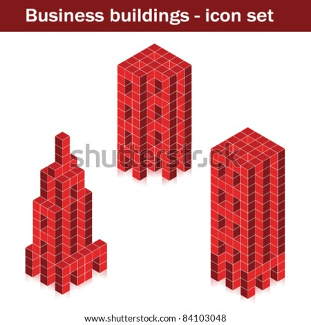 Vector business buildings - skyscrapers created of cubes - stock vector