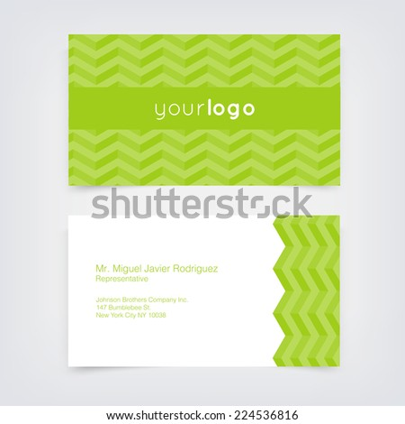 Vector business card design template with green retro chevron pattern background - stock vector
