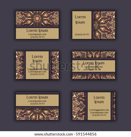 Vector Business Card Design Template Ornamental Stock Vector