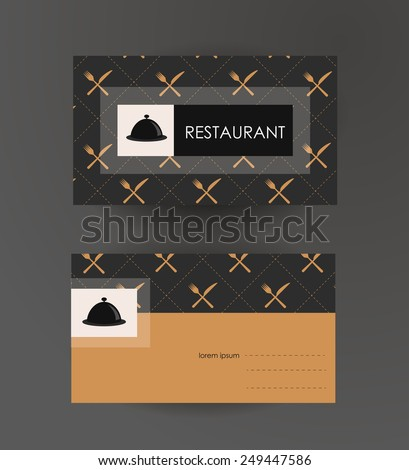 Vector business card template. For cafe and restaurant - stock vector