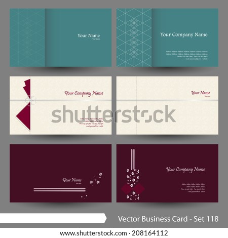 vector business card template set japanese stock vector 208164112