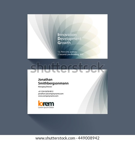Vector business card template with grey soft shapes and waves background for business and beauty with beautiful overlap effect. Simple and clean design. Creative corporate vector layout. - stock vector