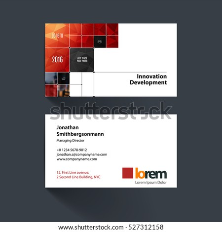 Vector Business Card Template With Red Rectangular Shapes, Squares, Lines,  Rounds For IT  Line Card Template