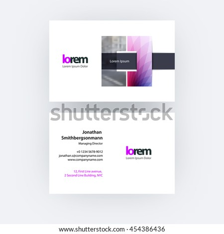 Vector business card template with square geometric shape and overlap effect for business books with industrial and science concept. Simple and clean design. Creative corporate identity layout. - stock vector