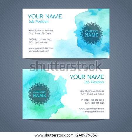 Vector business card templates. Abstract watercolour design. Vector illustration. - stock vector