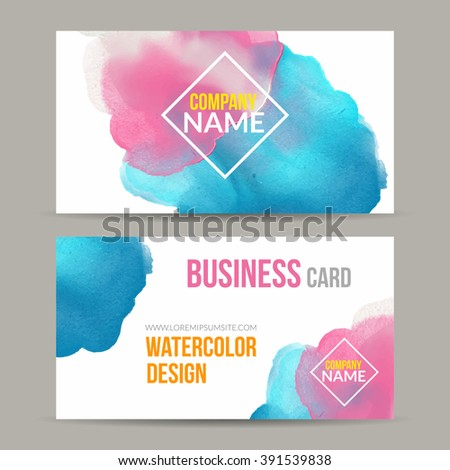 Vector business cards template watercolor paint stock vector 2018 vector business cards template with watercolor paint abstract background business card mockup flashek Choice Image