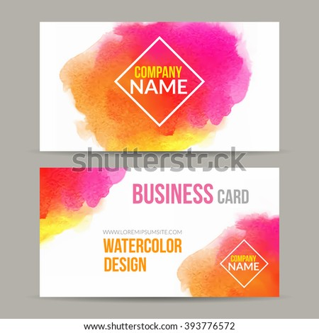 vector business cards template watercolor paint stock vector