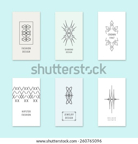 Vector business cards templates with vintage geometric patterns.  - stock vector