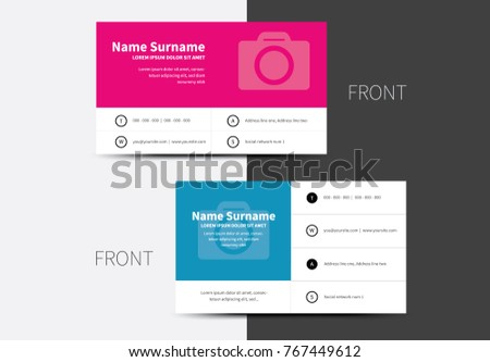 Vector business cards place photo two stock vector royalty free vector business cards with place for photo in two options and wrapping contact sections colourmoves