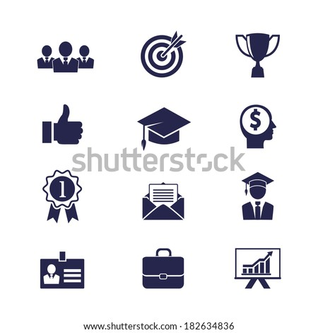 Vector Business career icons set for web and apps - stock vector