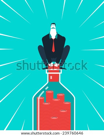 Vector business concept illustration of strong man and hard money - Modern colors. Creative Bussiness illustration. Eps 10 - stock vector