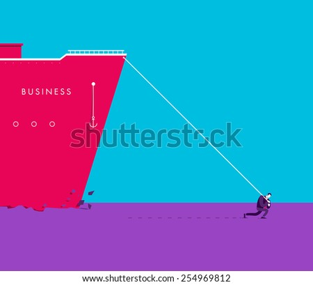 Vector business concept illustration of strong man - Modern colors. Creative Bussiness illustration. Eps 10 - stock vector