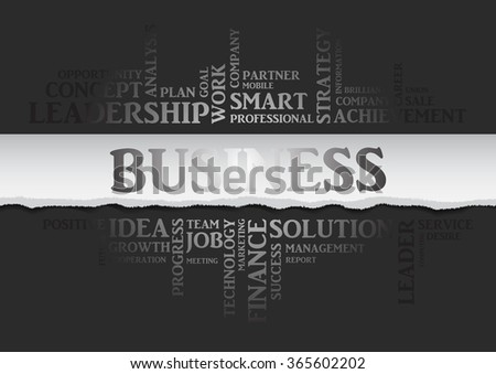 Vector business concept related words in tag cloud isolated on gray with different association business terms. The effect of torn paper and silver letters - stock vector
