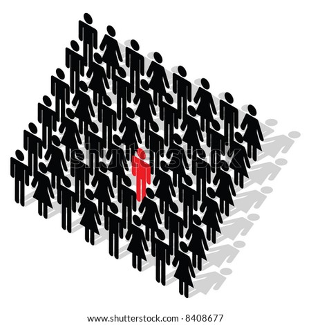 Vector - Business Concept - stand out from the crowd - stock vector