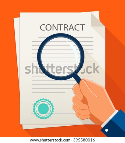 Vector business contract and magnifier. Analyzing document.  - stock vector