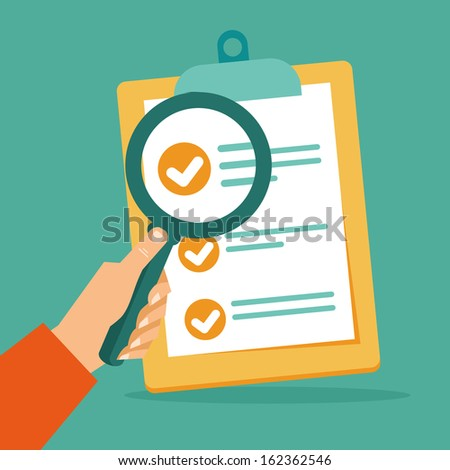 Vector business contract and magnifier - analyzing document - concept in flat style - stock vector