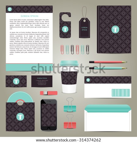 vector business coporate style mock-up on grey background. EPS - stock vector