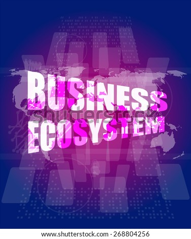 vector business ecosystem words on digital touch screen - stock vector