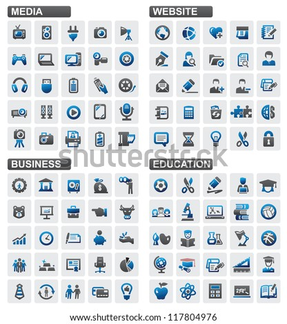 Vector business education website media icons set - stock vector