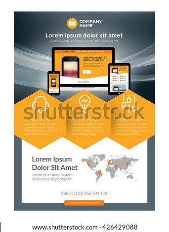 Vector business flyer design template mobile stock vector royalty vector business flyer design template for mobile application or new smartphone vector brochure design layout accmission Image collections
