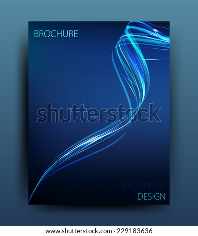 vector business flyer template or corporate banner design with wave on a dark background  - stock vector