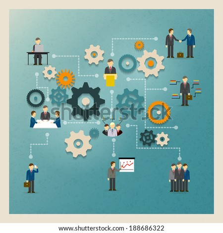 Vector business gears infographics with people and icons - stock vector