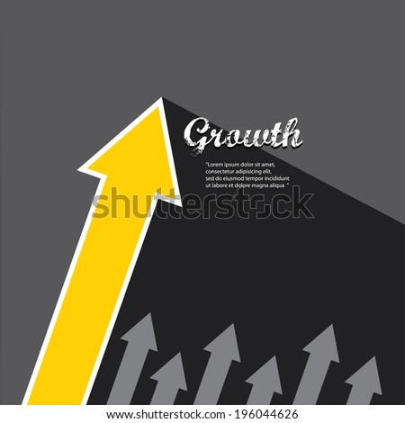 vector Business graph and chart on black background.vector golden grow up arrow. - stock vector