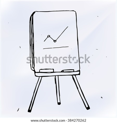 Vector business graph on flipchart, doodle illustration