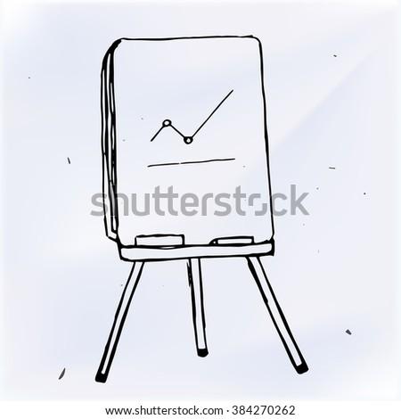 Vector business graph on flipchart, doodle illustration - stock vector