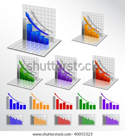 vector business graph set - stock vector