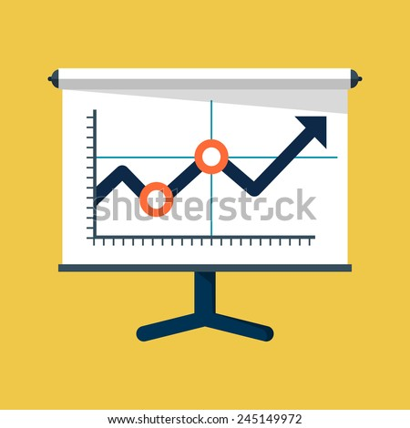 Vector Business Growing Chart Presentation Icon - stock vector