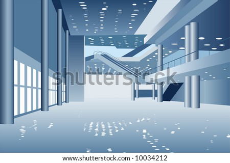 vector business hall - stock vector