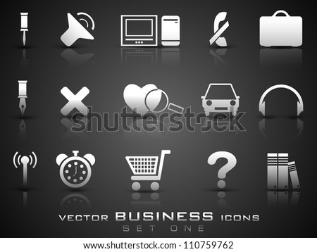 Vector business icon set on grey background. EPS 10. - stock vector