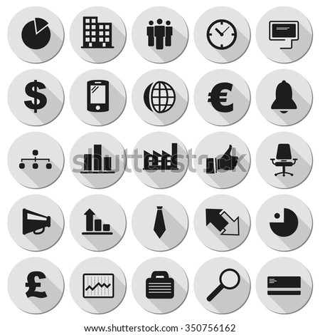 Vector business icons set. - stock vector