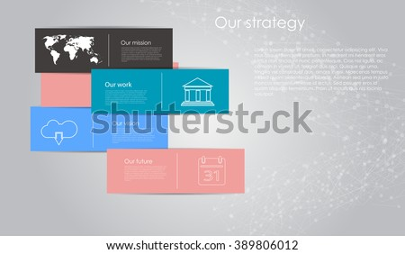 Vector business infographic with cube bubbles / mission, vision, future and strategy motif or theme on dark background - stock vector