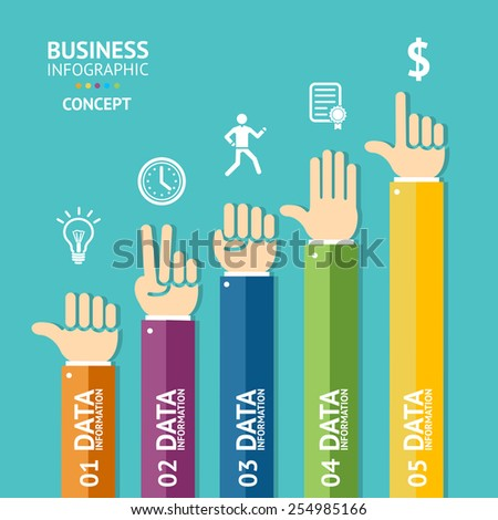 Vector business infographics with handsan be used for web design, step up options, brochures. Flat Design - stock vector