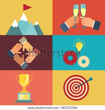 vector business leadership illustrations about striving for success in modern flat style - stock vector