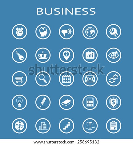 Vector Business Line Icons. Isolation on a blue background