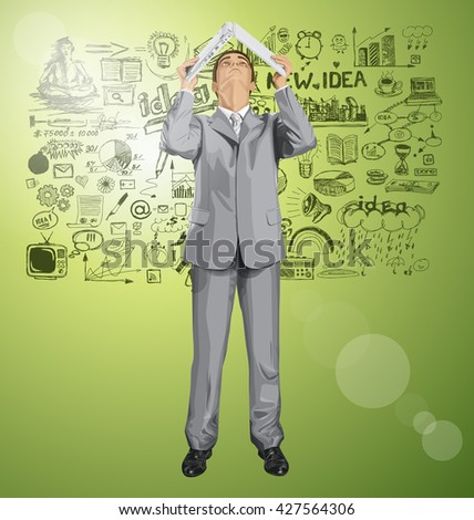 Vector business man hides under the laptop, looking up, looking for idea - stock vector