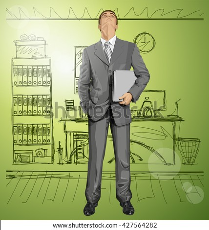 Vector business man in suit looking up, looking for idea, with laptop in his hands - stock vector