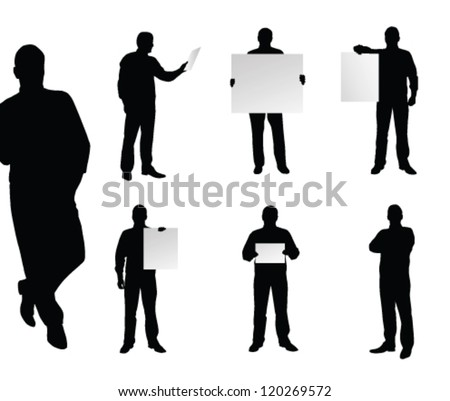 vector business man silhouette - stock vector