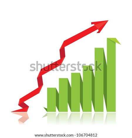 vector business origami graph with arrow showing profits and gains. vector business background.