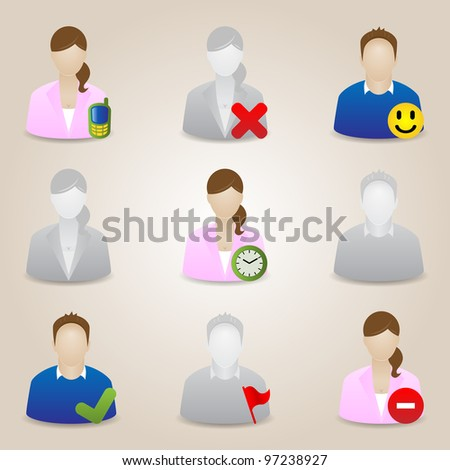 Vector Business People Icons. Communication - stock vector