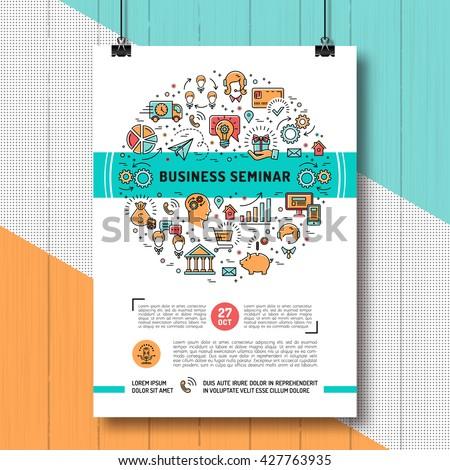 Vector Business Seminar Poster Templates A 4 Stock Vector (Royalty ...