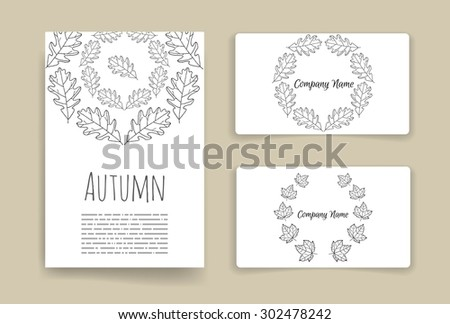 Vector business set template with hand drawn autumn leaves illustrations. Business card and brochure elements. Flyer design with autumn leaves.  - stock vector